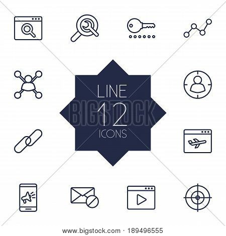 Set Of 12 Engine Outline Icons Set.Collection Of Stock Exchange, Url, Marketing And Other Elements.