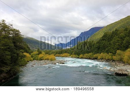 River Futaleufu flowing, well known for white water rafting, Patagonia, southern Chile.