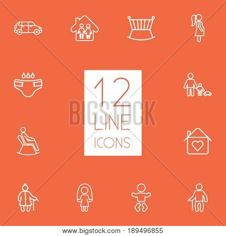 Set Of 12 People Outline Icons Set.Collection Of Skipping Rope, Pregnant Woman, Grangmother And Other Elements.