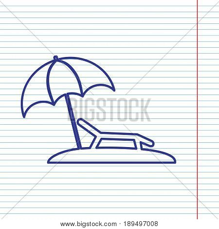 Tropical resort beach. Sunbed Chair sign. Vector. Navy line icon on notebook paper as background with red line for field.