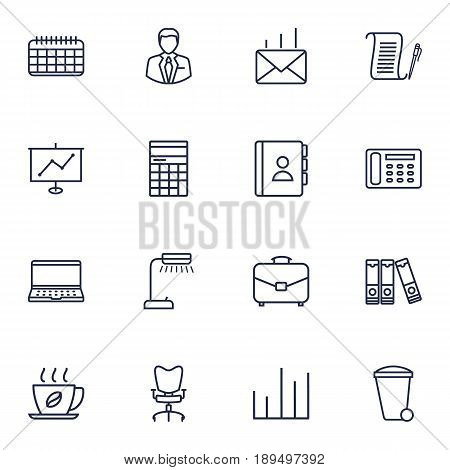 Set Of 16 Bureau Outline Icons Set.Collection Of Hot Drink, Contacts, Workplace And Other Elements.