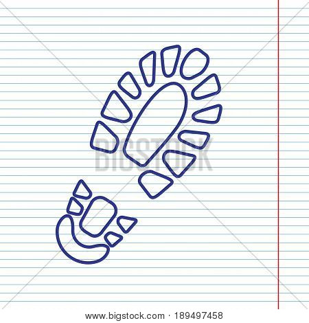 Footprint boot sign. Vector. Navy line icon on notebook paper as background with red line for field.