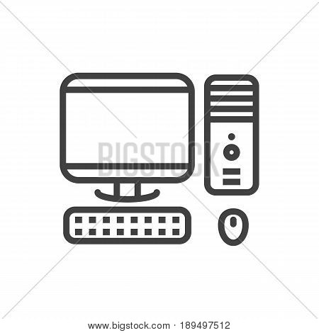 Isolted Computer Outline Symbol On Clean Background. Vector PC Element In Trendy Style.