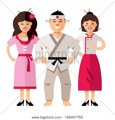 Man and two womans. Isolated on a white background