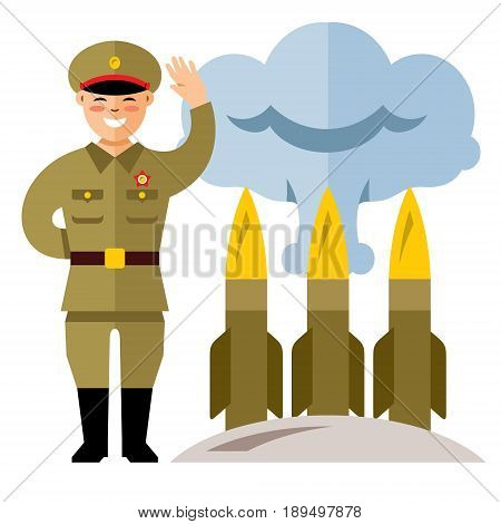 Korean soldier and warheads. Isolated on a white background