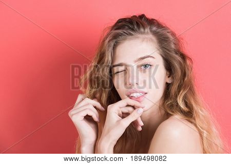 Girl Winking With Long Hair