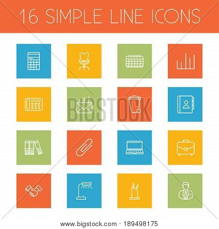 Set Of 16 Bureau Outline Icons Set.Collection Of Pen Storage, Counter, Chart And Other Elements.