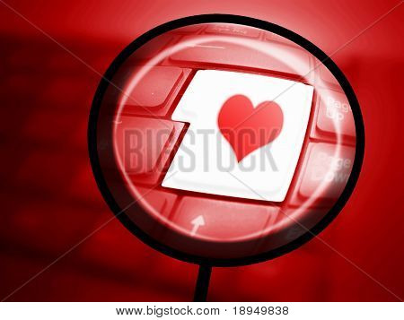 Keyboard with highlighted Love button.