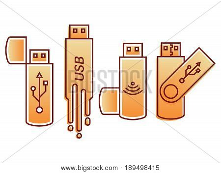 Set of icons USB.Flesh store. A vector illustration in flat linear style. Modern computer technologies.