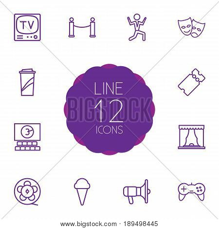 Set Of 12 Pleasure Outline Icons Set.Collection Of Soft Drink, Masks, Film Role And Other Elements.