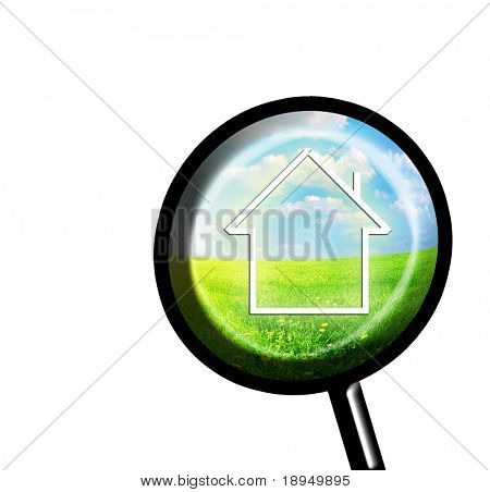 New house imagination in loupe. Isolated on white version. Conceptual image