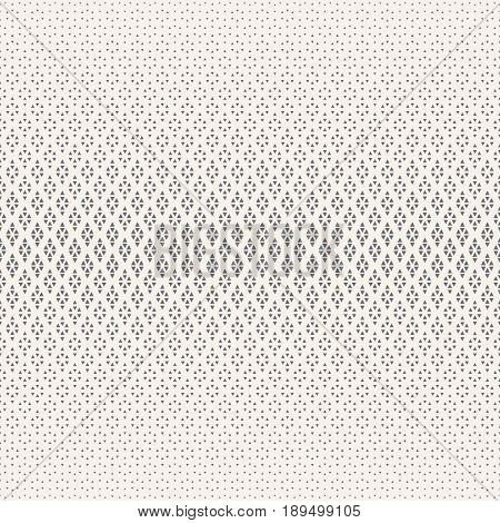 Vector seamless pattern. Abstract halftone background. Modern stylish texture. Repeating grid with rhombuses and triangles of the different size. Gradation from bigger to smaller