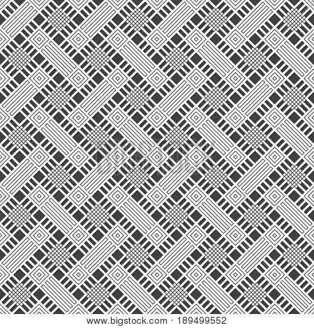 Vector seamless pattern. Modern stylish texture with regularly repetition of geometrical shapes: zigzags thin lines rhombuses grids