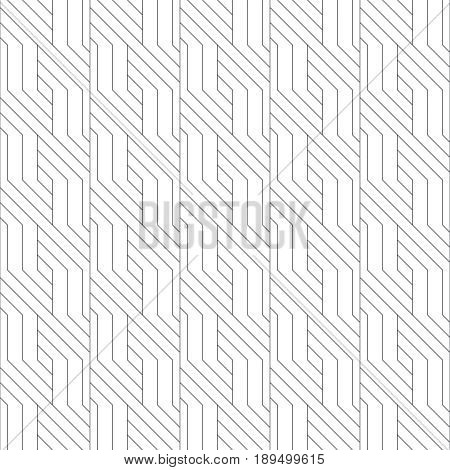 Vector seamless pattern. Modern stylish texture with intersecting thin lines which form regularly repeating tiled linear grid with diagonal zigzag shapes. Abstract geometric background