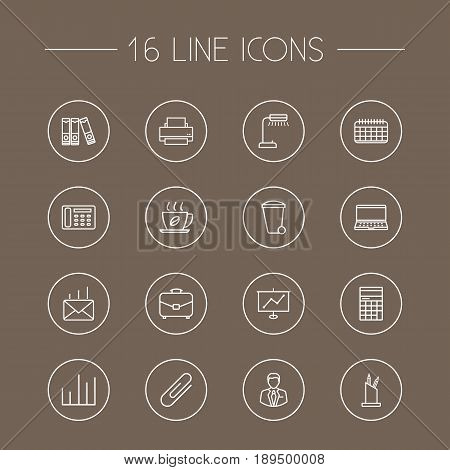 Set Of 16 Work Outline Icons Set.Collection Of Chart, Document Case, Printing Machine And Other Elements.