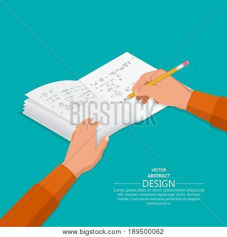 The hand with a pencil writes to notebooks.3D style. Flat design. A vector illustration in an isometric projection.Concept of training.