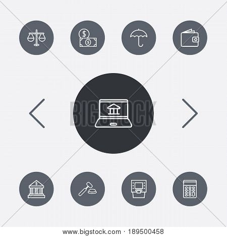 Set Of 9 Budget Outline Icons Set.Collection Of Auction, Calculator, Internet Banking And Other Elements.