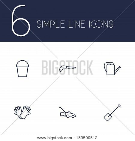 Set Of 6 Horticulture Outline Icons Set.Collection Of Arm-Cutter, Spade, Safer Of Hand Elements.