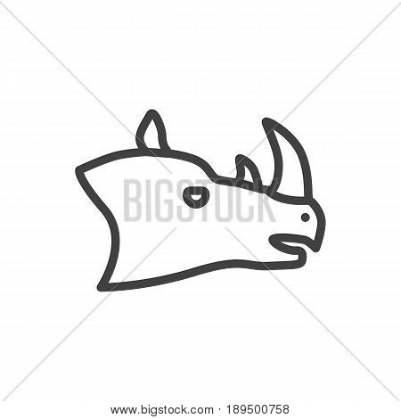 Isolted Rhinoceros Outline Symbol On Clean Background. Vector Rhino Element In Trendy Style.