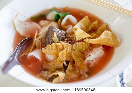 Thai street food yen ta fo noodle