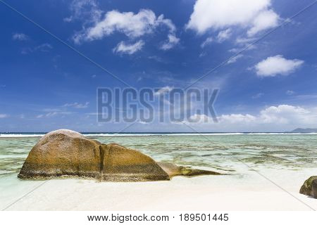Granite Rock And Beach, La Digue, Seychelles