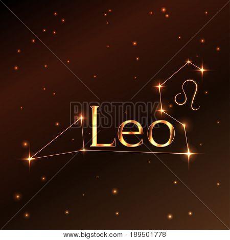 Fire symbol of Leo zodiac sign, horoscope, vector art and illustration. Star constellation.