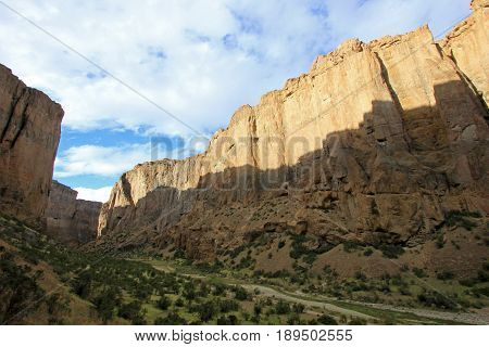 Buitrera Canyon, a climbing paradise in the Chubut valley, Patagonia, Argentina