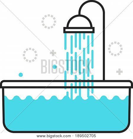 Color Box Bath Tub Icon