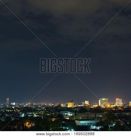 Landscape City Night With Dramatic Moody Dark Sky
