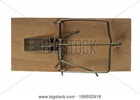 Close up of a mousetrap, isolated on white