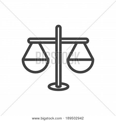 Isolted Balance Outline Symbol On Clean Background. Vector Justice Element In Trendy Style.