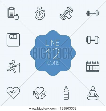Set Of 12 Fitness Outline Icons Set.Collection Of Water Bottle, Health Care, Yoga And Other Elements.