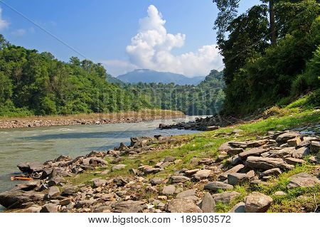 View of river in Nepal, Asia in the autumn
