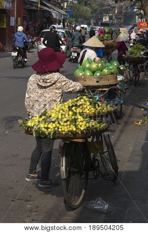 Typical Street Vendor In Hanoi, Vietnam