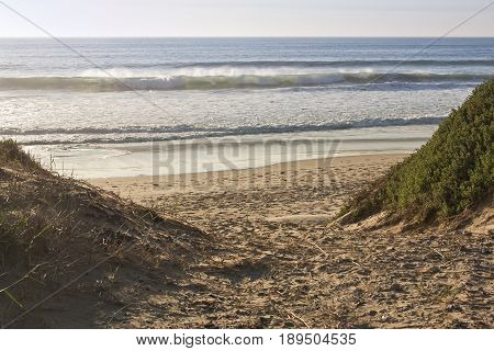 wide sandy pathway to the beach with breaking waves in the background early in the morning