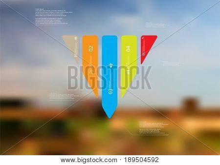 Illustration infographic template with motif of triangle vertically divided to five standalone color sections with simple sign number and sample text. Blurred photo is used as background.