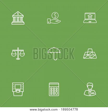 Set Of 9 Finance Outline Icons Set.Collection Of Businessman, Golden Bars, Internet Banking And Other Elements.