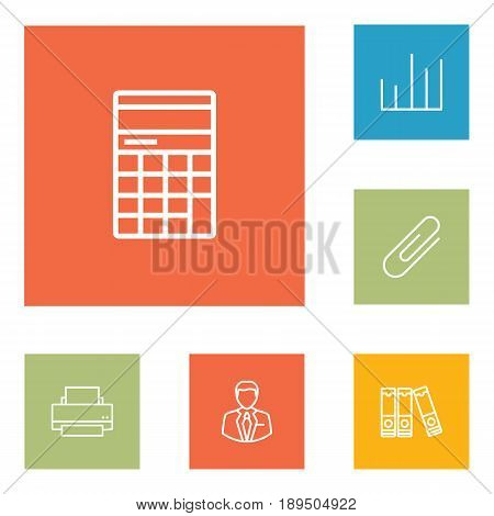 Set Of 6 Work Outline Icons Set.Collection Of Administrator, Chart, Printing Machine And Other Elements.