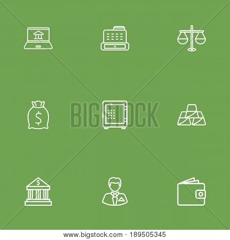 Set Of 9 Budget Outline Icons Set.Collection Of Moneybag, Bank, Justice And Other Elements.