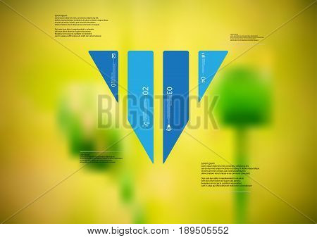 Illustration infographic template with motif of triangle vertically divided to four standalone blue sections with simple sign number and sample text. Blurred photo is used as background.
