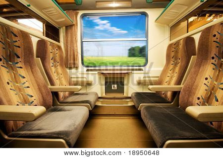 Travel in comfortable train. View from inside