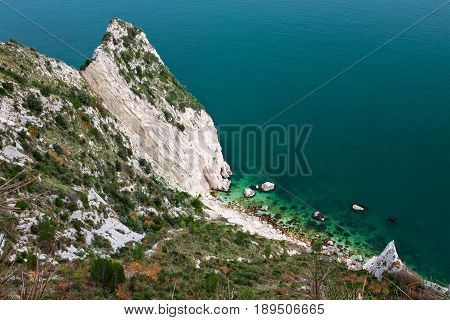Beautiful view of two sisters spiaggia delle due sorelle in mount Conero Italy