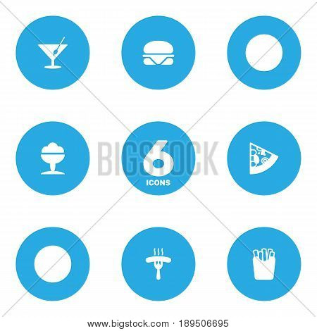 Set Of 6 Food Icons Set.Collection Of Martini, Sorbet, Frankfurter And Other Elements.