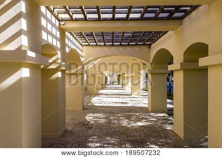 Column corridor pergola in luxery hotel, Greece