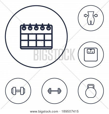 Set Of 6 Training Outline Icons Set.Collection Of Calendar, Scales, Dumbbell And Other Elements.