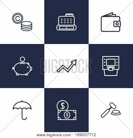 Set Of 9 Finance Outline Icons Set.Collection Of Grow Up, Dollar, Wallet And Other Elements.