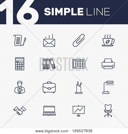 Set Of 16 Bureau Outline Icons Set.Collection Of Notebook, Counter, Workplace And Other Elements.