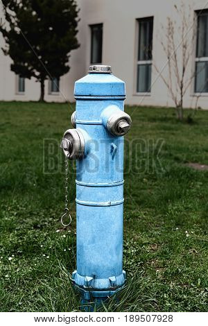 Street metal fire hydrant for fighting fires closeup