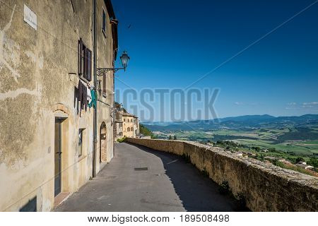 VOLTERRA TUSCANY - MAY 21 2017 - Along the Walls the view of the Cecina Valley
