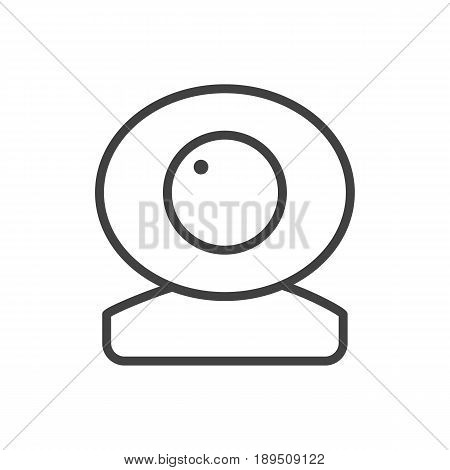 Isolted Camera Outline Symbol On Clean Background. Vector Web Cam Element In Trendy Style.